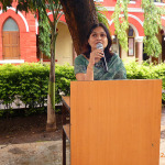 Principal addressing the students of  Junior College on Green Day 2014